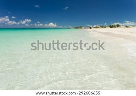 White sandy beach in the Bahamas - stock photo