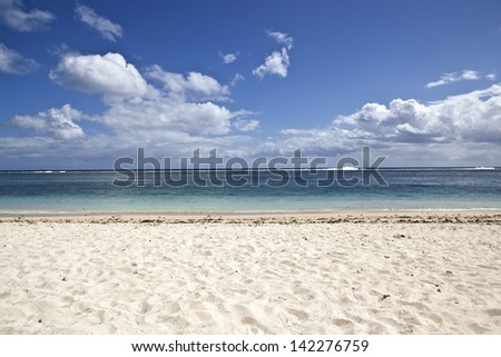 White sandy beach on Mauritius island - stock photo