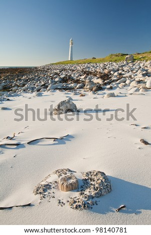 White sandy beach with lighthouse in the background. - stock photo