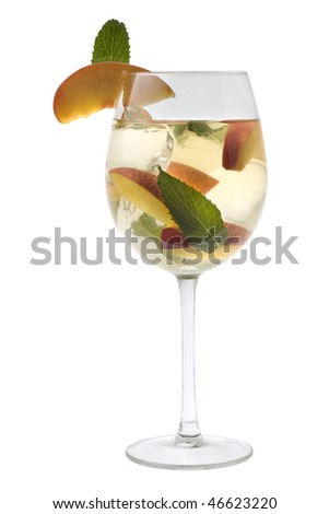 White Sangria in stemware on a white background - stock photo