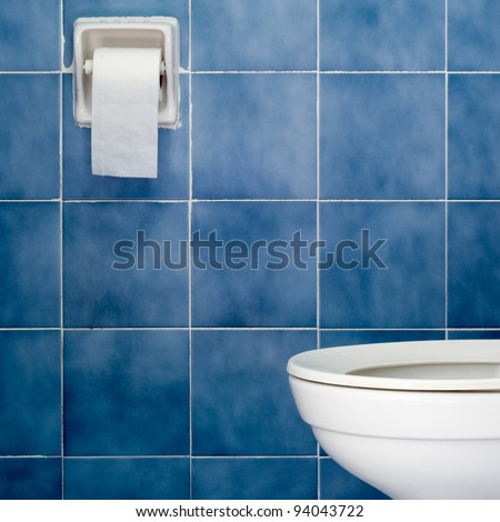 White sanitary ware and tissues in Blue bathroom - stock photo