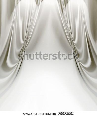 White Satin Drapes - stock photo