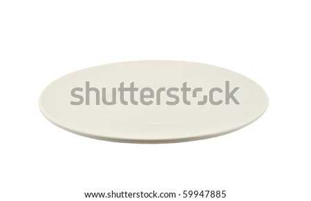 White saucer isolated on white background - stock photo