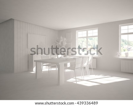 white scandinavian interior.3D illustration
