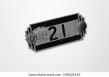 white school lockers with small number placard - stock photo