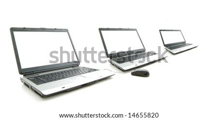 white screen in three laptop  isolated on white
