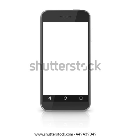 White screen mobile phone , This is a 3d computer generated image. Isolated on white.
