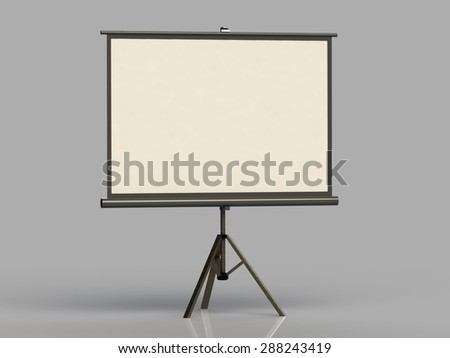 White screen on a tripod projector deployed gray background - stock photo