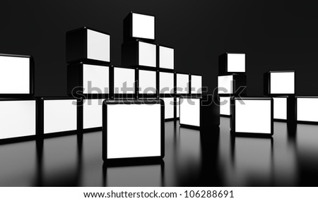 White screen video wall of many cubes on black background - stock photo