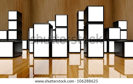 White screen video wall of many cubes on wooden background - stock photo