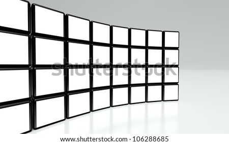White screen wall of many cubes on white background - stock photo