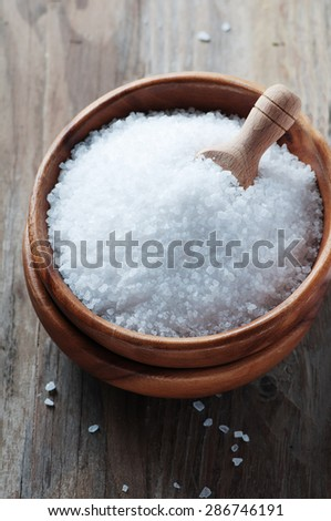 White sea salt for cooking, selective focus - stock photo