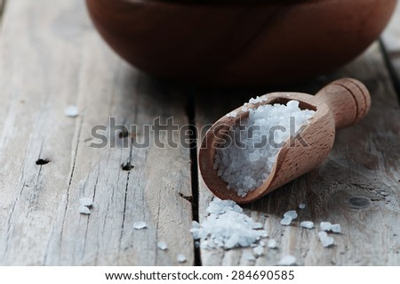 White sea salt fot cooking, selective focus - stock photo