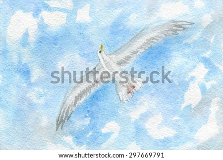 White seagull against the sky with clouds, watercolor illustration and paper texture - stock photo