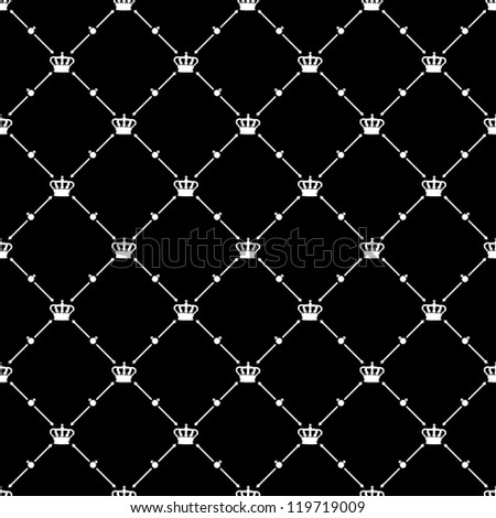 White seamless pattern with king crown symbol on black, bitmap copy.