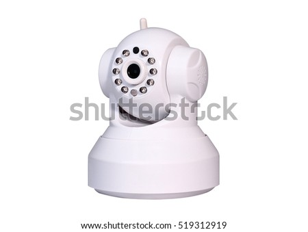 white security camera cctv white background