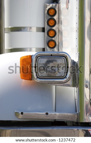 White Semi Truck Detail - stock photo