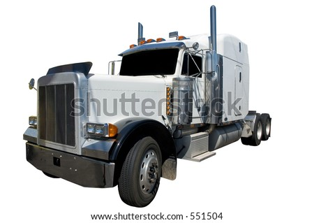 White semi truck isolated on a white background.