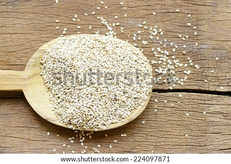 White Sesames in wooden spoon on wooden table - stock photo