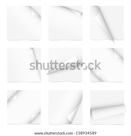 white set of note paper with curled corner. Raster copy of vector illustration