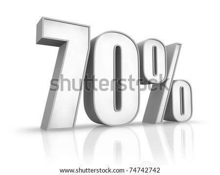 White seventy percent, isolated on white background. 70% - stock photo