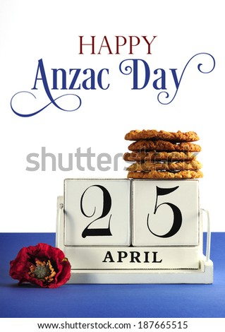 White shabby chic vintage style block calendar for Anzac Day, April 25, with traditional Anzac biscuits on white background with remembrance red poppy with sample text or copy space. - stock photo