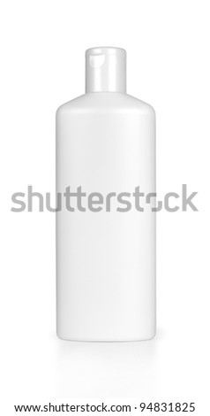 white shampoo bottle isolated on white - stock photo