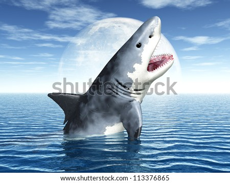 White Shark Computer generated 3D illustration - stock photo
