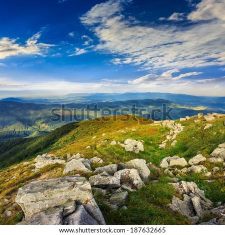 white sharp stones on the hillside - stock photo