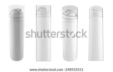 White Shaving Foam Spray Metal 3D Bottle Can With Lid Cap. Ready For Your Design. Product Packing isolated on white background. - stock photo