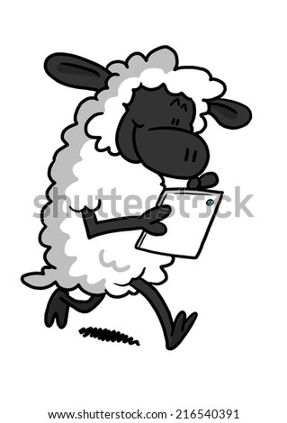 White Sheep Playing With A Tablet - stock photo