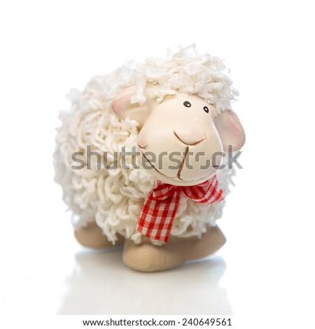 White sheep toy the Chinese symbol of 2015 year on white background - stock photo
