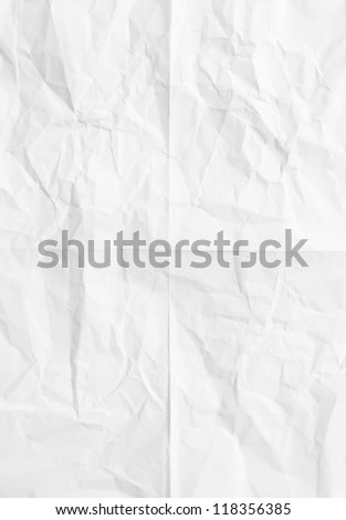 white sheet of paper folded and battered With texture. - stock photo