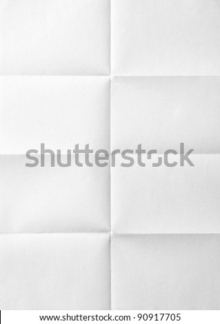 white sheet of paper folded in eight - stock photo