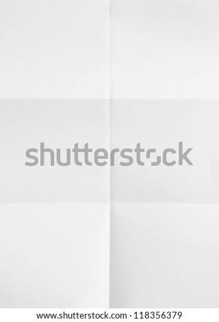 white sheet of paper folded in six With texture. - stock photo