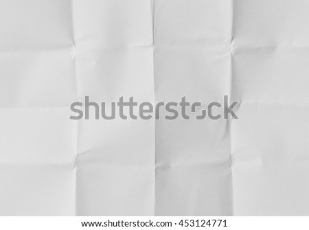 White sheet of paper folded texture. Copy space