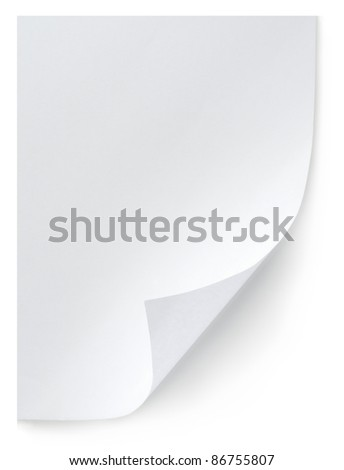 White sheet of paper isolated on white background