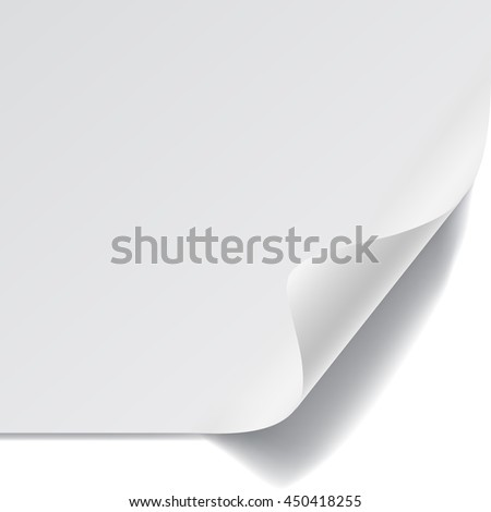 White sheet of paper with curved corner and with shadow on white background