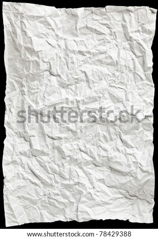 white sheet of paper wrinkled - stock photo