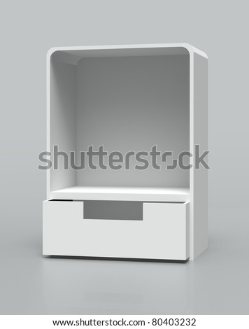 white Shelf Box Display on gray background. Isolated 3d model - stock photo