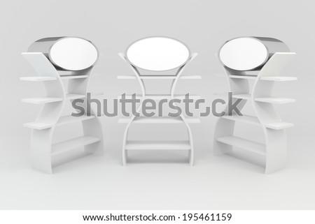 White shelves design on white background - stock photo