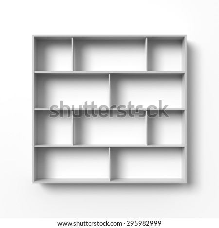 White shelves hanging on a wall with light and shadows. Blank template. Empty bookshelf, open display, retail store mock up.