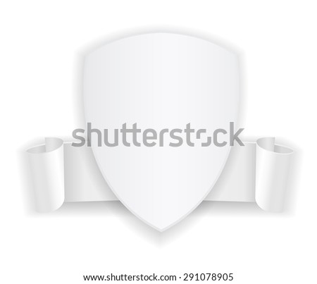 white shield banner badge icon with ribbon - stock photo