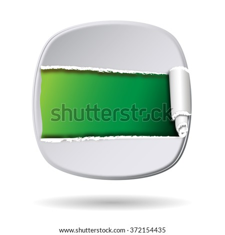 white shield with opening and free space inside - stock photo