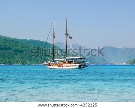 White ship near Antalya (Turkey) - stock photo