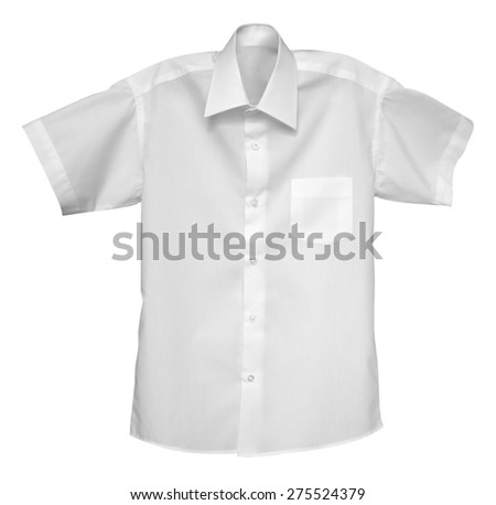 White shirt isolated on the white. Clipping Path included. - stock photo