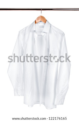 White shirt on a hanger on a white background - stock photo