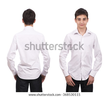 White  shirt on a young man isolated, front and back  - isolated over a white background - stock photo
