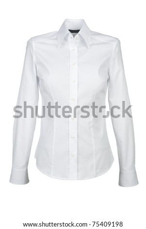white shirt with long sleeves isolated on white background - stock photo
