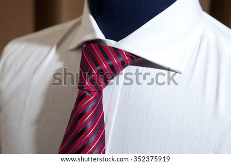 white shirt with necktie - stock photo